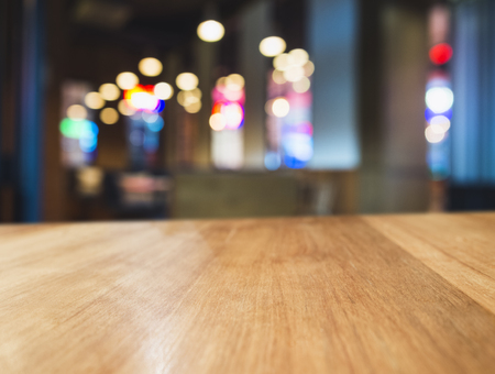 Table top Colourful light Blurred Bar restaurant cafe interior background