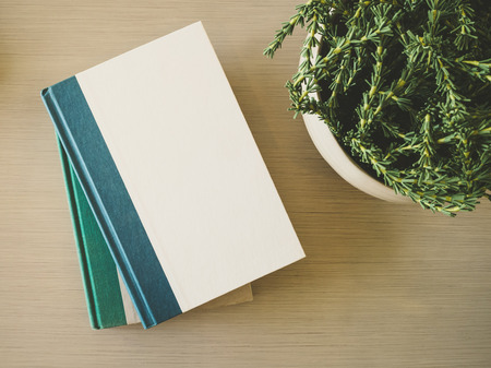 table decoration: Book cover Mock up template on table with plant decoration