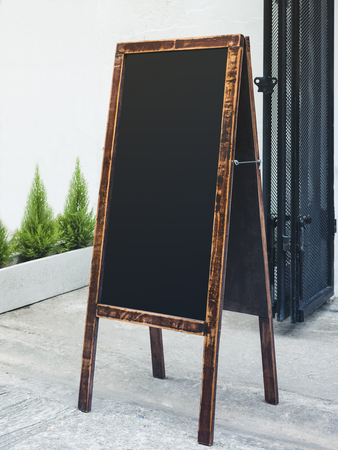 mocked: Signboard Stand Chalkboard wooden frame Restaurant Shop Menu outdoor Stock Photo