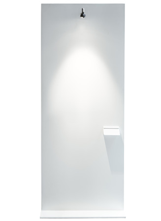 mocked: Blank Mock up Board stand with spot light Art Gallery Exhibition display Stock Photo