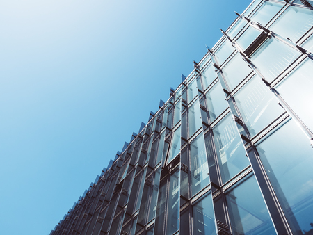 モダンな建築のガラス壁建築抽象的な背景 写真素材