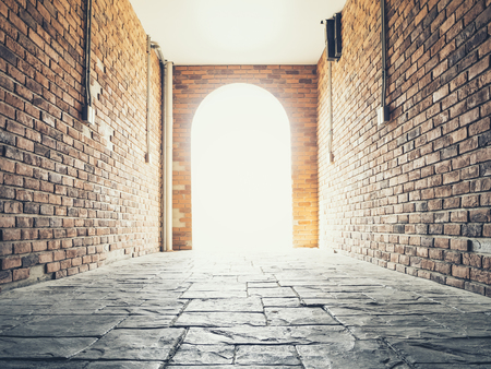 Doorway Brick wall architecture Vault with Lighting Conceptual