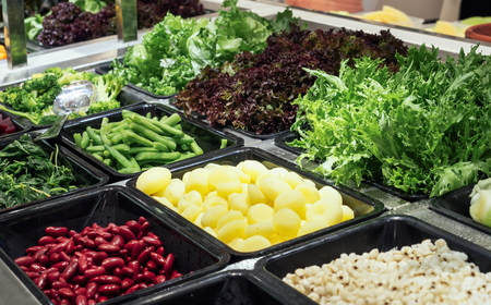 Salad Bar Fresh Vegetables Organic green Healthy food Red bean Chestnut and grain Фото со стока