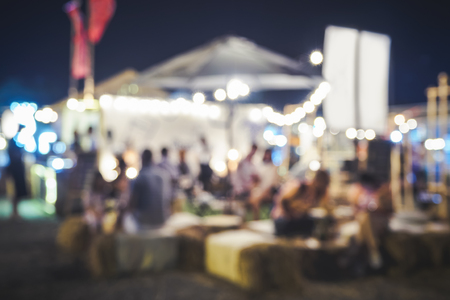 Festival Event Party Blurred People siting Outdoor Background