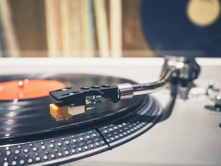 Vinyl Record on Turntable Player Music Vintage Retro  Stock Photo