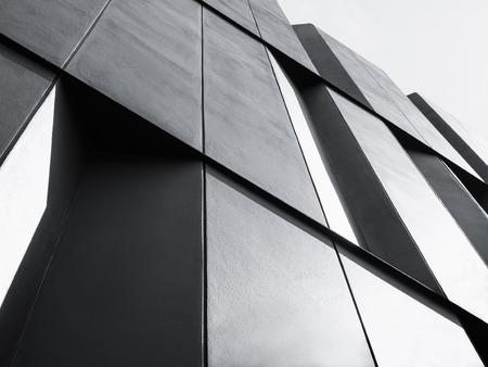 아키텍처 세부 정보 현대 외관 건물 흑인과 백인