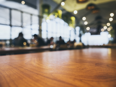 Table top Counter Blurred People Bar restaurant cafe interior background Stock Photo