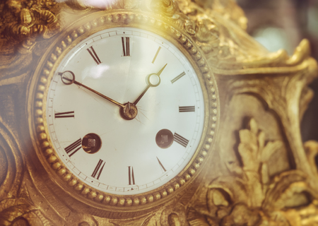 Vintage Victorian Old Clock Face with Roman Numerals Gold antique collection Stock Photo - 77442548