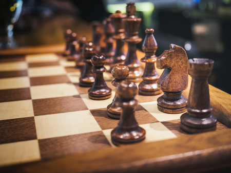 chess board: Chess Set on Chess board Plaly Game Leisure Stock Photo