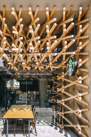 DAZAIFU, JAPAN - FEB 20, 2012 : Starbuck Coffee shop front display design by Kengo Kuma and associates Editorial