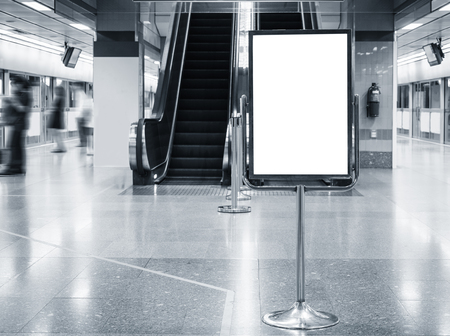 Mock up Poster stand Blank Sign in Public Building Subway transportation