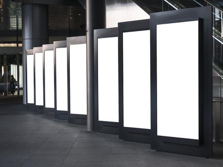 ライト ボックスを空白モック設定テンプレート縦サイン スタンド ディスプレイ屋内