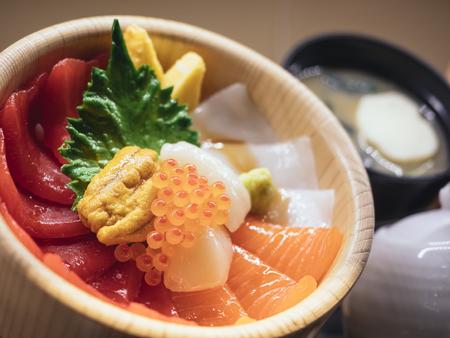 Japan Food Display Sashimi Rice Bowl Restaurant menu Stock Photo