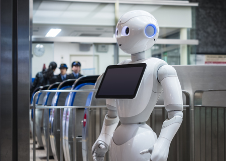 KANAZAWA, JAPAN - APR 11, 2017 : Pepper Robot Assistant with Information screen at Train station Tourism Japan