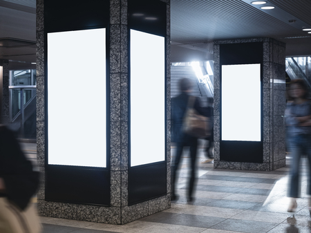 Mock up Blank Poster Banner Public  Lcd media light box Public space Building Blur people