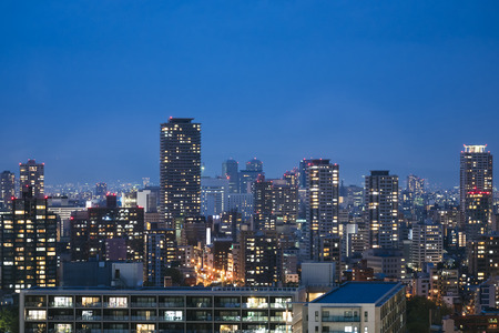 City scape night scene skyline Building with lighting