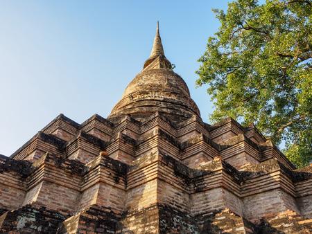 塔建築の詳細タイ スコータイ歴史公園 写真素材
