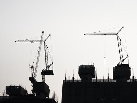 Silhouette Crane equipment Building Industrial concept Фото со стока