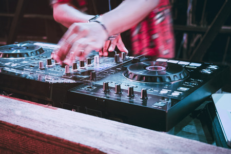 Party DJ Turntables Mixer Music entertainment Event Pub nightlife Stock Photo
