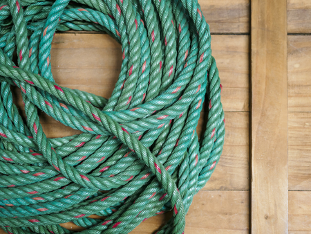 Nylon Rope on wooden background