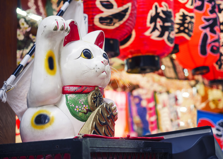 Maneki Neko Cat Japan lucky symbol shop front decoration