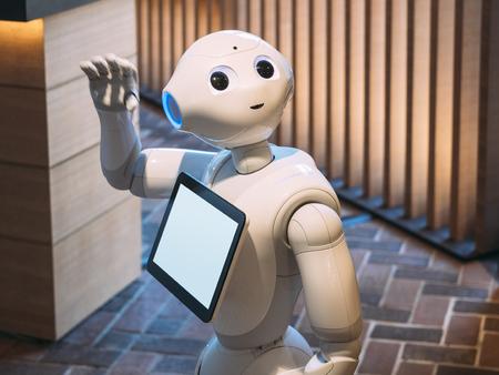 KYOTO, JAPAN - APR 14, 2017 : Pepper Robot Assistant with Information screen at Tsutaya shop Tourism Japan