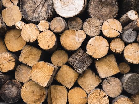 Wood log Background textured Lumber stack  Stock fotó