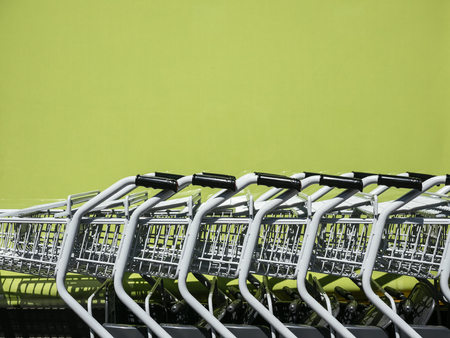 Shopping Cart Trolley in row Retail department store Consumer business