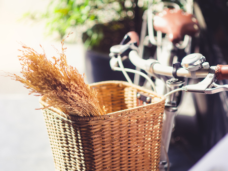 Bicycle with ear of rice in Basket slow life hipster lifestyle eco tourism Banco de Imagens
