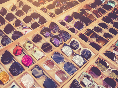 Sunglasses Fashion shopping display in wooden box Hipster Lifestyle
