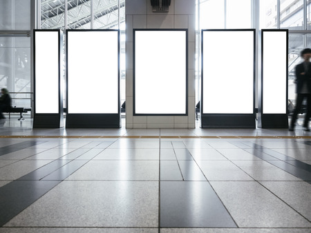 Blank mock up Banner set  Vertical sign stand display indoor Building Banque d'images