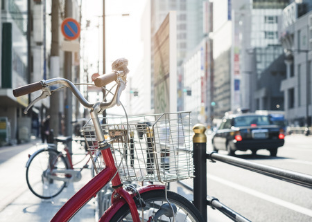 Bicycle parking street with car Transportation Urban lifestyle Japan Osaka city