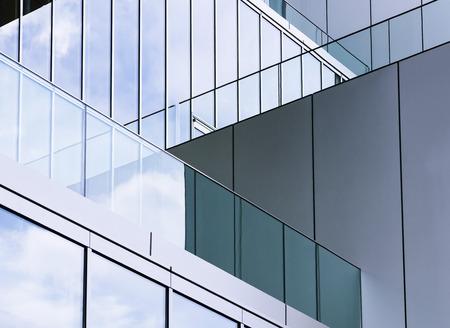 Szczegóły architektury Szklana ściana Nowoczesny budynek na zewnątrz Abstrakcyjne tło