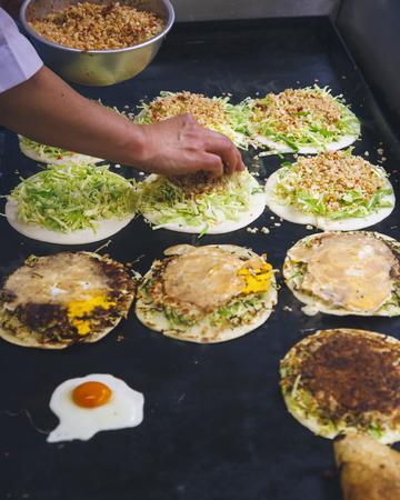 Street Food Taiwanese food Fried Pancake Food vendor cooking