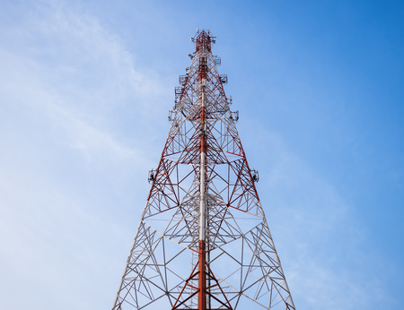 Telecommunication Tower with blue sky Imagens
