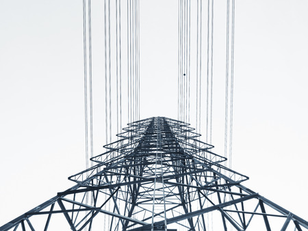 High voltage post Power line High voltage tower Industry background Black and white