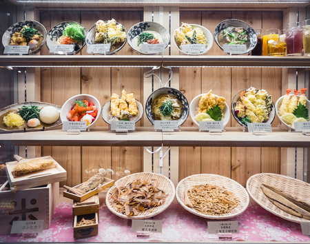 OSAKA, JAPAN - APR 12, 2017 : Japan Restaurant Food Display with Model menu Japan travel 写真素材