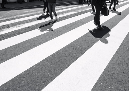 Cross walk with people walking urban road traffic Safety sign