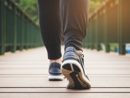 Walk legs with sport shoe Outdoor Exercise Healthy lifestyle