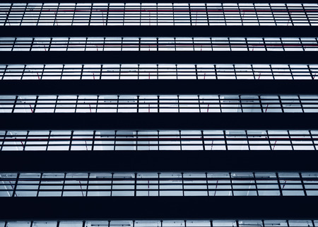 Architecture exterior window frame pattern neon light Modern Building Abstact backgorund Banco de Imagens