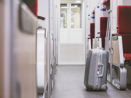 Luggage in Train interior Train Travel concept