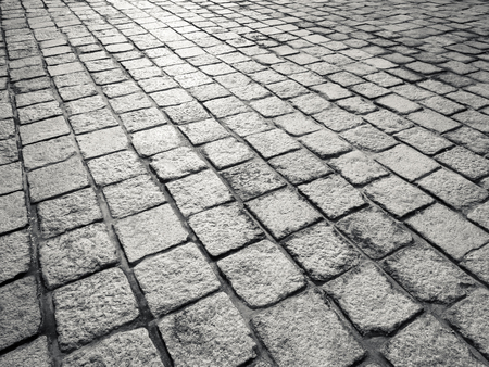 Brick floor cobblestone pattern background pavement Black and white