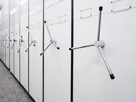Mobile cabinet office storage document rack room perspective