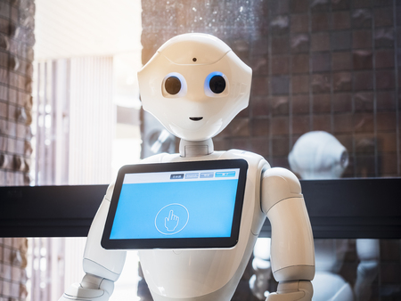 Pepper Robot Assistant with Information screen Japan Humanoid technology