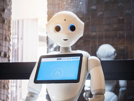 Pfefferroboter-Assistent mit Informationsbildschirm Japan Humanoid-Technologie Standard-Bild - 102765923