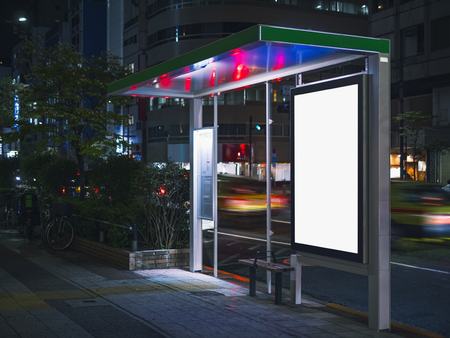 Bus shelter Billboard Banner template  Media advertising outdoor street Sign display at Night