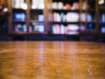 Blur Library Book shelf Table top Education background 写真素材