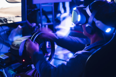 People wearing Vr glasses Virtual Reality E Sport Technology game entertainment