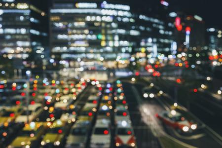 Blur Car Parking Taxi stand building  Background city night life Foto de archivo - 105911904