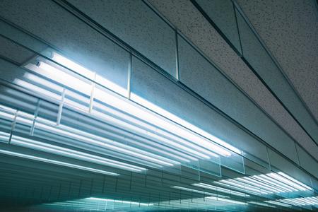 Neon light pattern Indoor building Energy saving electric system Foto de archivo